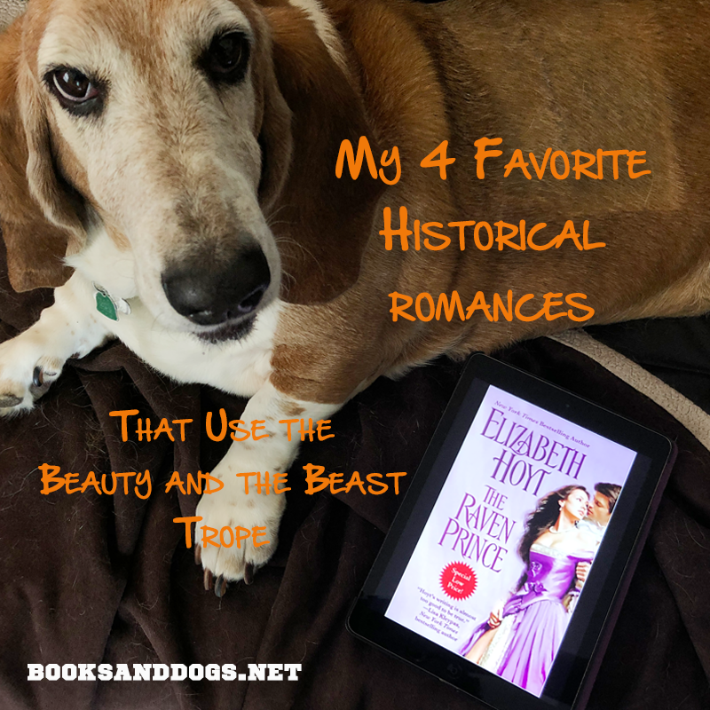 The Raven Prince by Elizabeth Hoyt and a basset hound